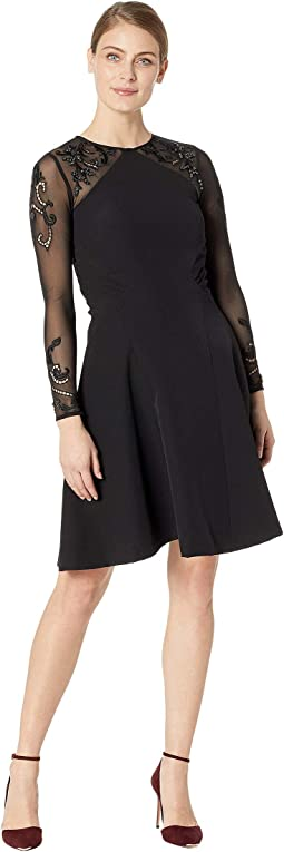 Embroidered Mesh Illusion Sleeve Fit & Flare Dress