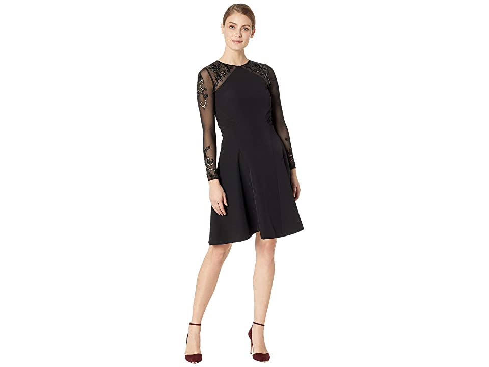 Tahari by ASL Embroidered Mesh Illusion Sleeve Fit Flare Dress (Black) Women