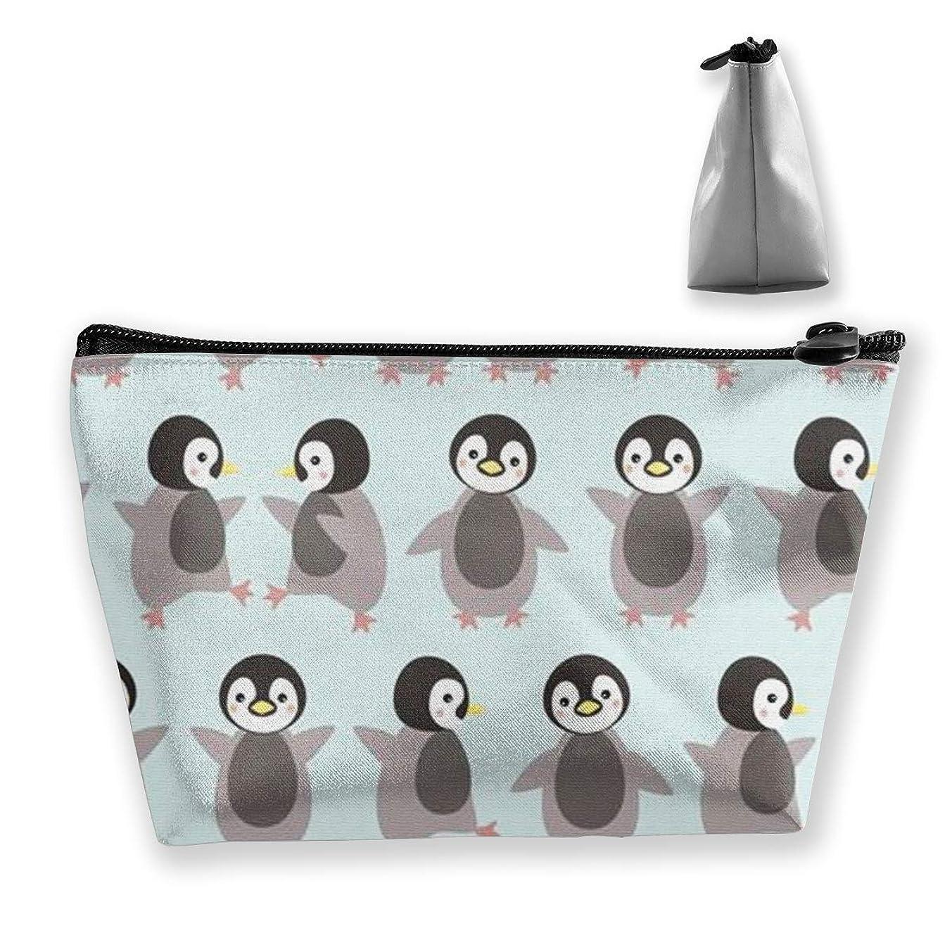振り子サーカス回答かわいいペンギン 化粧ポーチ メイクポーチ ミニ 財布 機能的 大容量 ポータブル 収納 小物入れ 普段使い 出張 旅行 ビーチサイド旅行