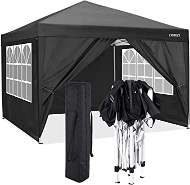 COBIZI Oudoor Beach Canopy 10'x10' Commercial Waterproof Gazebo Tent Wedding Party Instant Event Shelter with 6 Remov