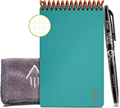 """Rocketbook Smart Reusable Notebook - Dotted Grid Eco-Friendly Notebook with 1 Pilot Frixion Pen & 1 Microfiber Cloth Included - Neptune Teal Cover, Mini Size (3.5"""" x 5.5"""")"""