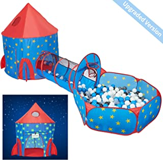 HAN-MM 3pc Play Tent Ball Pit with Tunnel Stars Glow in The Dark, Tunnel & Ball Pit Basketball Rocket Ship Astronaut Hoop Toys with Message Signs for Indoor Outdoor Camping