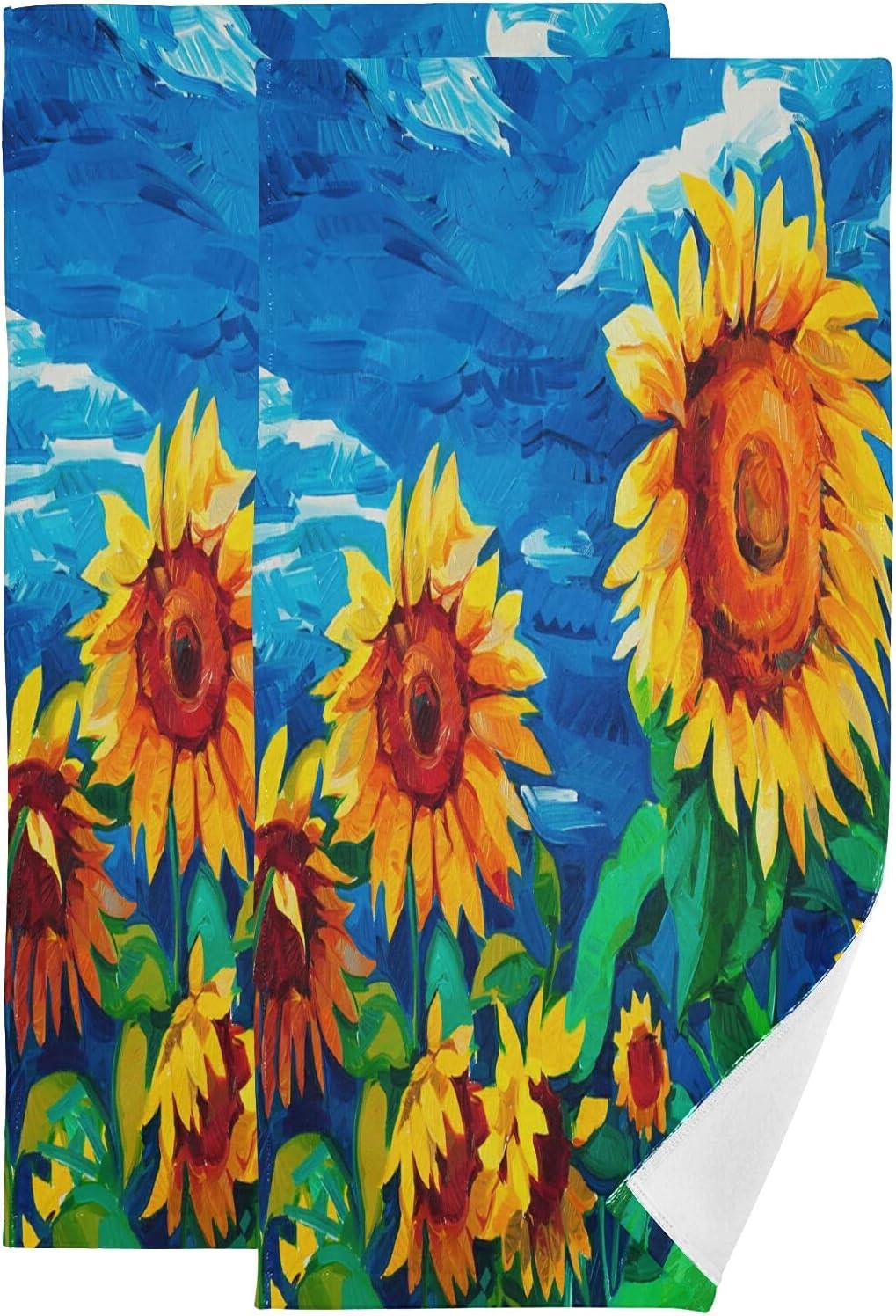 Excellence ALAZA Floral Sunflower Hand Towels Decorative favorite Soft Bat Absorbent