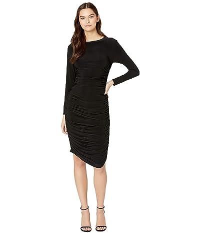 KAMALIKULTURE by Norma Kamali Long Sleeve Shirred Dress (Black) Women