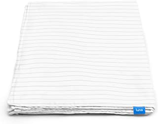 LUNA Removable Duvet Cover for Weighted Blanket | 60x80 - Queen Size | 100% Organic Oeko-Tex Cooling Cotton | Machine Washable & 8 Ties for Secure Fastening | Designed in USA | Grey Striped