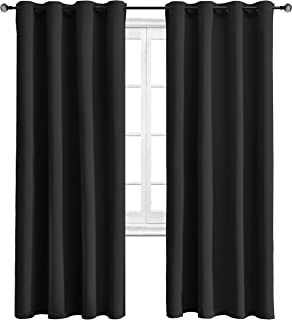 WONTEX Blackout Curtains Room Darkening Thermal Insulated with Grommet Window Curtain for Living Room, 52 x 72 inch, Black, 2 Panels