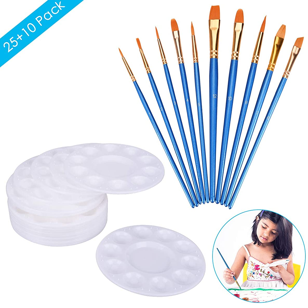 TinTop 35 Pcs Paint Brush Set 25pcs Paint Tray Palette and 10 Nylon Hair Brushes Pointed Tip Nylon Hair Paintbrush for Kids Students Beginners