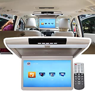17.3 Inch Car Roof Mount Flip Down Monitor Ceiling TV, Car Overhead Player Roof - With USB/SD Card/HDMI Port,Brown