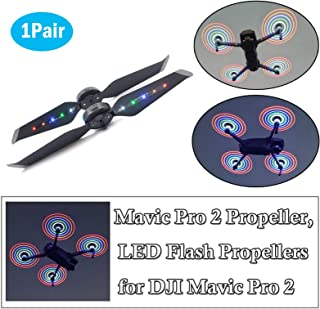 STARTRC 1 Pair Mavic 2 Pro Colorful Propeller Low Noise Quick-Release Foldable Props, Rechargeable LED Flash Propellers for DJI Mavic 2 Zoom Drone