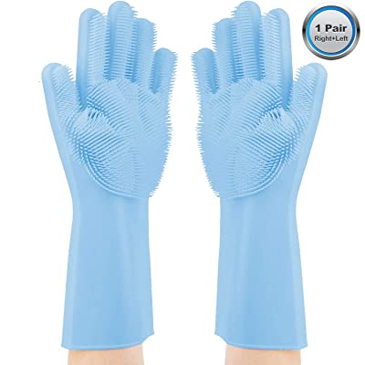 Magic Dish Washing Gloves Silicone Scrubber, He...