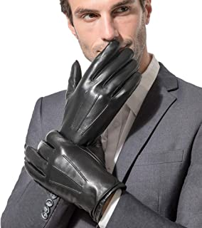 Men's Leather Gloves, Black Driving/Working Touchscreen Lambskin Cashmere Winter Mittens