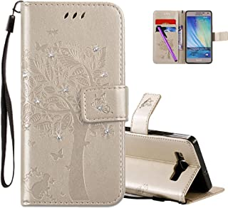 HMTECHUS Samsung Galaxy A5 2015 case 3D Crystal Embossed Love Tree Cat Butterfly Pattern PU Flip Stand Card Holders Wallet...