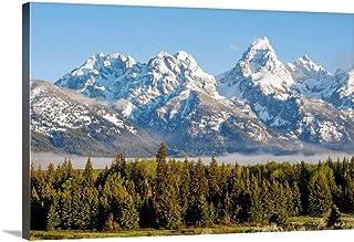 High Peaks of Teton Range in Grand Teton National Park, Wyoming Canvas Wall Art Print, 36