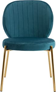 DAGONHIL Velvet Dining Chair,Upholstered Makeup with Golden Metal Leg,Set of 4(Teal Green)