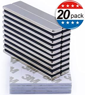 Strong Neodymium Bar Magnets with Double-Sided Adhesive, Rare-Earth Metal Neodymium Magnet - 60 x 10 x 3 mm, Pack of 20