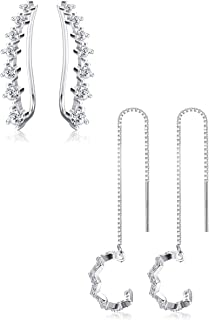 Milacolato 2Pairs Sterling Silver Ear Cuffs CZ Climber Crawler Earrings for Women Cartilage Piercing Earrings Set Wave Cuff Threader Earrings for Women