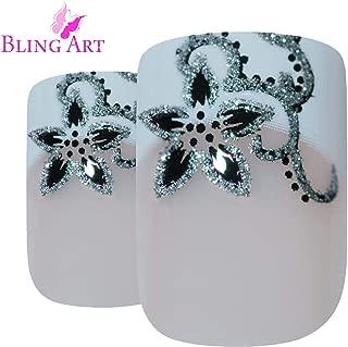 False Nails by Bling Art Black White French Manicure Fake Medium Tips with Glue
