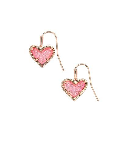 Kendra Scott Ari Heart Drop Earrings (Rose Gold Pink Drusy) Earring