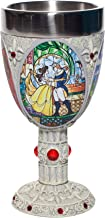 Enesco Disney Showcase Beauty and the Beast Stained Glass Scenes Decorative Chalice Goblet Cup, 7.09 Inch, Multicolor
