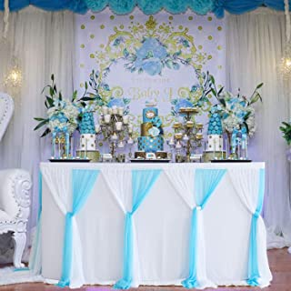 Baby Blue Tulle Table Skirt 6ft Tutu Table Skirt Tulle Tablecloth for Baby Shower Boy Wedding Birthday Party Decorations(L6(ft) H 30in)