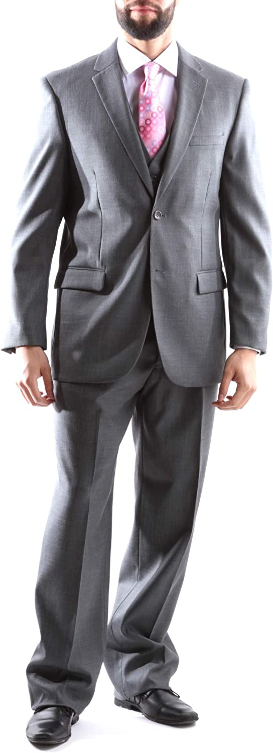 Men's Superior 150s Single Breasted Two Button Classic Fit 3 pcs Vested Dress Suit