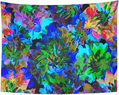 Tapestry Black Abstract Acrylic Paint of Flowers AS Blue Bright Bend Home Decor Wall Hanging for Living Room Bedroom Dormisette 60 x 80 Inches: Amazon.es: Juguetes y juegos