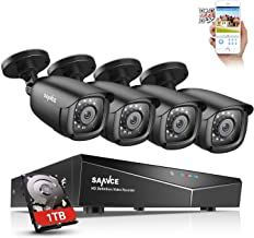 SANNCE 8CH 1080N DVR Security Camera System with 1TB Hard Drive and (4) 1080P Night Vision Surveillance Cameras, IP66 Weatherproof, P2P Technology/E-Cloud Service, QR Code Scan Remote Access