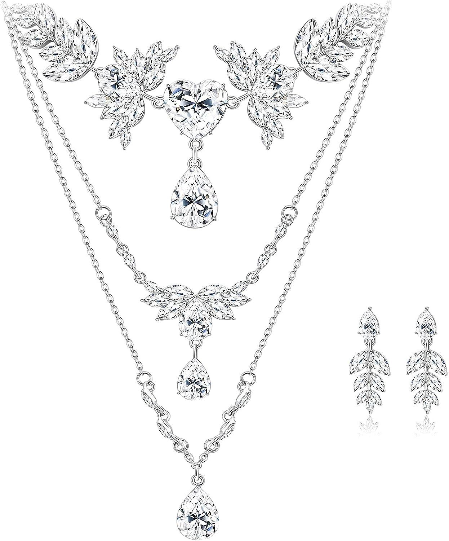 Florideco Wedding Bridal Jewelry Set for Women Flower Leaf Rhinestone Layer Necklace Earrings Bridesmaid Teardrop Cluster Crystal Jewelry