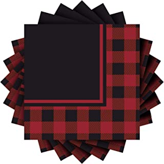 Aneco 60 Pack Red and Black Plaid Luncheon Napkins Papers Napkins Party Supplies for Wedding, Party, Birthday, Dinner, Lunch with 3 Layers, 6.5 by 6.5 Inches