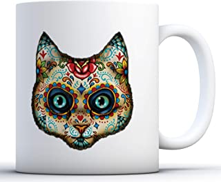 Awkward Styles Skull Coffee Mugs Skull Mug Dia de Los Muertos Party Gifts day dead cat 11 oz
