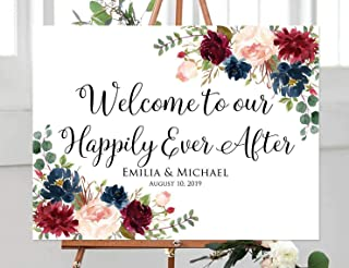 FabricMCC Custom Welcome Wedding Sign, Personalized Welcome to Our Happily Ever After Sign, Floral Wedding Sign (24