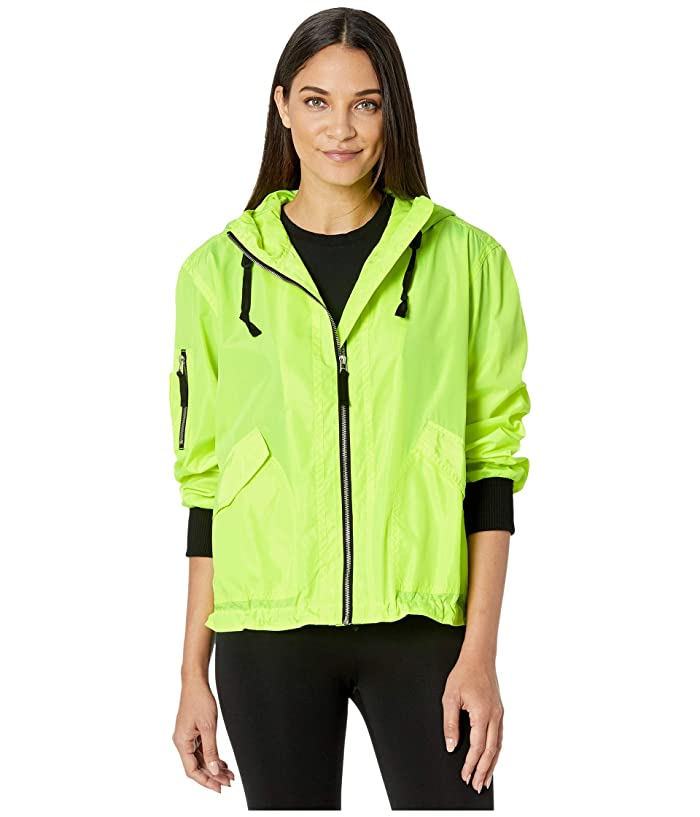 BB Dakota  Ring The Alarm Water Resistant Windbreaker (Neon Yellow) Womens Clothing