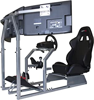 GTR Simulator - GTA-F Model Racing Simulator Triple or Single Monitor Stand with Adjustable Leatherette Seat, Racing Simulator Cockpit Gaming Chair Single Monitor Stand