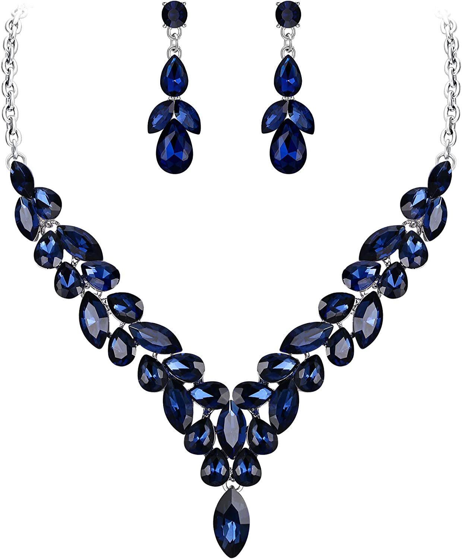EVER FAITH Bridal Wedding Jewelry Set Marquise Crystal Leaf Teardrop Bride Necklace Earrings Set