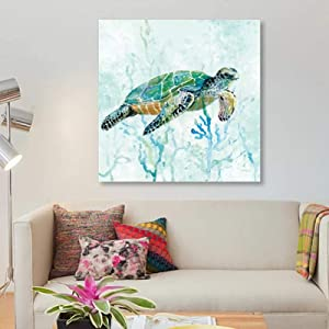 Canvas Paintings Modular Animal Tortoise Prints Underwater Poster Wall Art Pictures Gift Living Room Home Decor-50x50cm No Frame