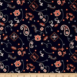 Sykel Enterprises Collegiate Cotton Broadcloth Auburn Paisley Fabric by The Yard, Multi