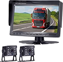 "HD 720P Backup Camera and 7"" Monitor Kit, 2 Cameras for School Bus/Trailer/RV/Truck/Pick up/Van Rear View Camera Single Power System IP68 Waterproof Night Vision Driving/Reversing Use"