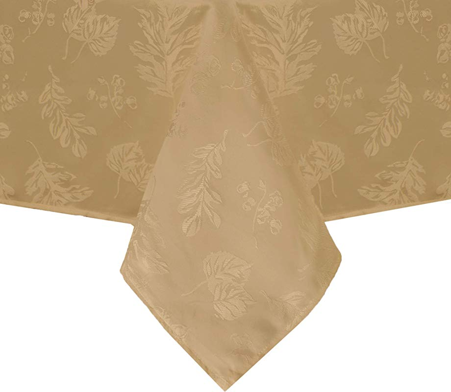 Elrene Home Fashions Elegant Woven Leaves Jacquard Damask Tablecloth 60 X 144 Gold