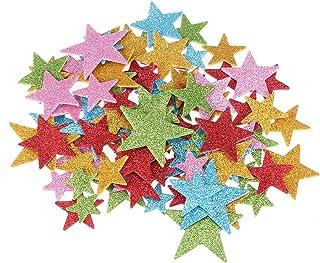 ROSENICE 200pcs Foam Stickers Star Glitter Stickers for DIY Craft Ceiling Scrapbook Wall Decor Random Color