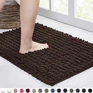 Walensee Bathroom Rug Non Slip Bath Mat (24x17 Inch Brown) Water Absorbent Super Soft Shaggy Chenille Machine Washable Dry Extra Thick Perfect Absorbant Best Small Plush Carpet for Shower Floor