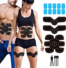 Abdominal Muscle Toner Rechargeable ABS Stimulator, Portable Wireless Muscle Trainer for Men Women,6 Modes with 10 Levels Intelligent EMS Home Office Fitness for Abdomen/Arm/Leg,10pcs Free Gel Pads