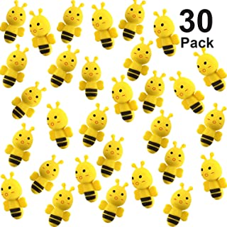 Yaomiao 30 Pack Bee Erasers Assortment Animal Erasers Novelty Erasers for Party Favors, Homework Rewards, Gift Filling and Art Supplies (Bee Erasers 30 Pack)