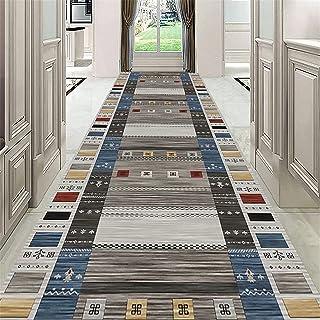 TONGQU Tapis de Couloir Au Mètre, Moderne Géométrie Antidérapant Lavable Polyester Longue Tapis de Passage pour Couloir, S...