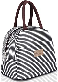 HOMESPON Lunch Bag Insulated Tote Bag Lunch Box Resuable Cooler Bag Lunch container Waterproof Lunch holder for Women/Men(Black & White Stripe, Large)