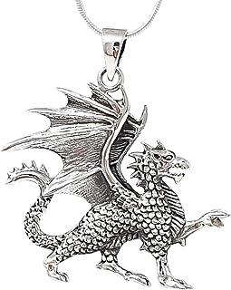 TreasureBay 925 Sterling Silver Dragon Pendant and Chain For Men