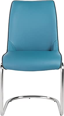 Euro Style Stephanie Side Chair in Blue Leatherette with Brushed Stainless Steel Base - Set of