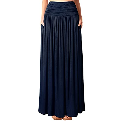 11dc728502b DJT Women s Pleated High Waist Stretchy Plain Jersey Flared Swing Pocket  Long Maxi Skirt