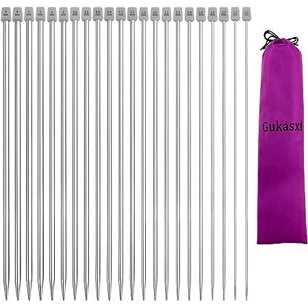 Gukasxi Lot de 11 paires d'aiguilles à tricoter en acier inoxydable, 11 tailles de 2 à 8 mm, aiguilles à tricoter droites à pointe unique, 35 cm de longueur pour tricot fait à la main