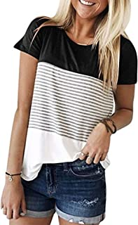 Beyove Womens Casual Triple Color Block Striped T-Shirt Short Sleeve Round Neck T Shirts Blouses Tops