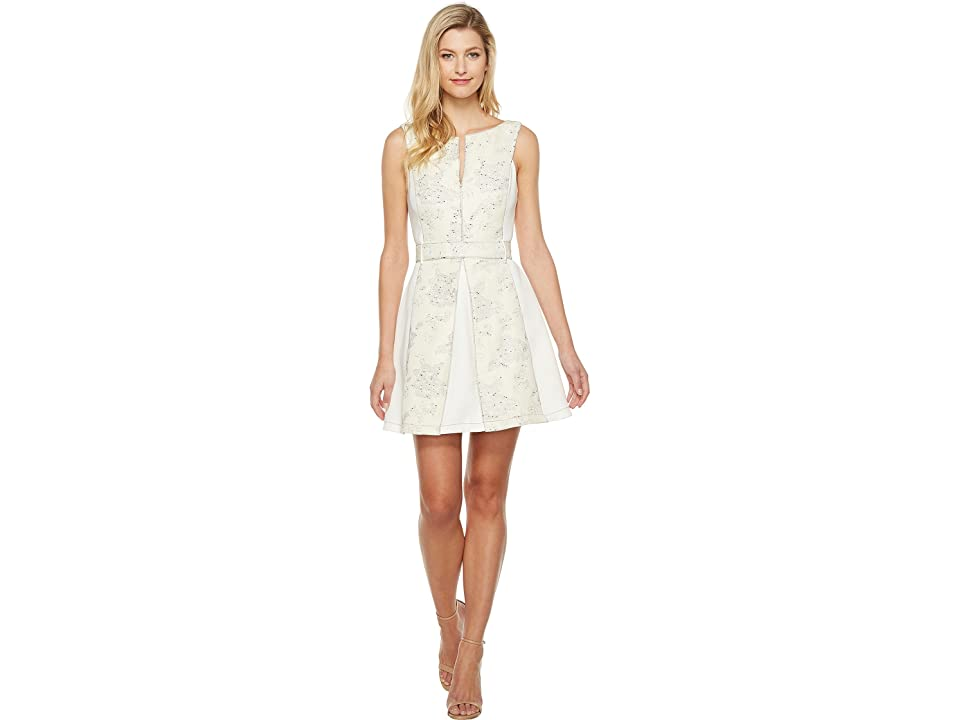 Adelyn Rae Kiley Woven Jacquard Fit and Flare (Ivory) Women